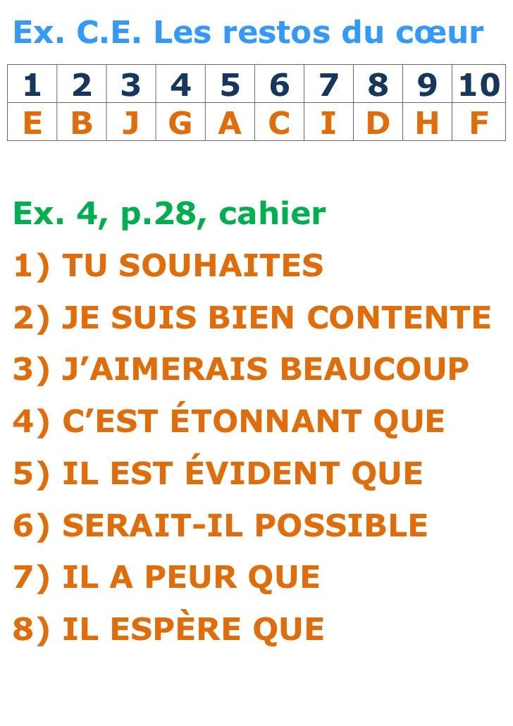 Ex. C.E. Les restos du cœur1 2 3 4 5 6 7 8 9 10E B J G A C I D H FEx. 4, p.28, cahier1) TU SOUHAITES2) JE SUIS BIEN CONTEN...