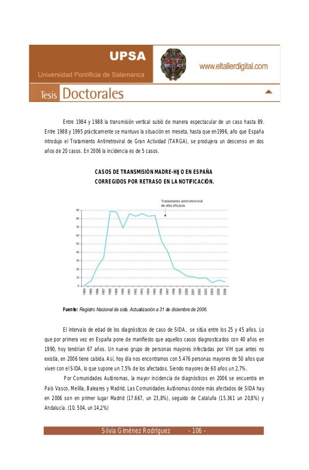 Silvia Giménez Rodríguez - 106 - Entre 1984 y 1988 la transmisión vertical subió de manera espectacular de un caso hasta 8...