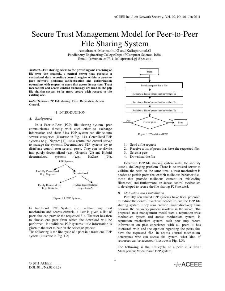 ACEEE Int. J. on Network Security, Vol. 02, No. 01, Jan 2011 Secure Trust Management Model for Peer-to-Peer               ...