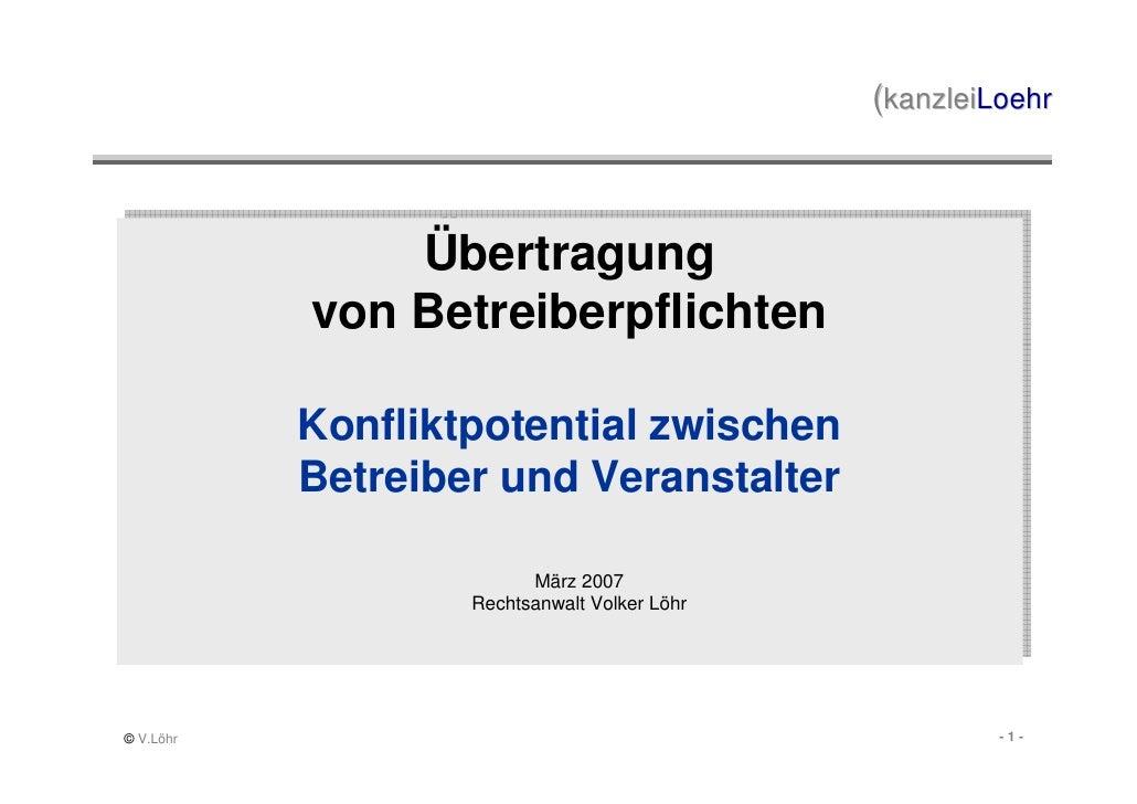 (kanzleiLoehr                    Übertragung                Übertragung            von Betreiberpflichten            von B...