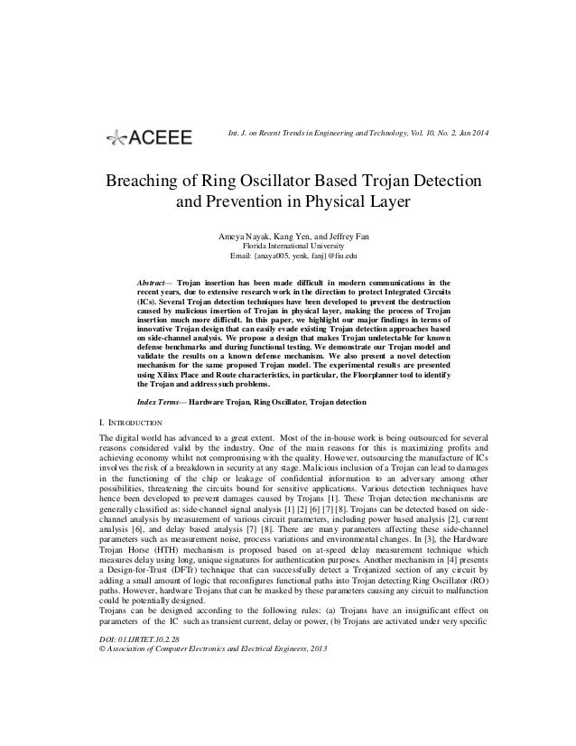 Breaching of Ring Oscillator Based Trojan Detection and Prevention in Physical Layer
