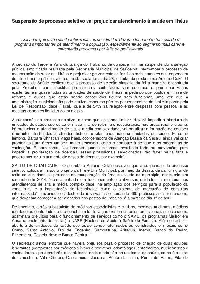 28.03.14.suspensão de processo seletivo vai prejudicar atendimento à saúde em ilhéus (1)
