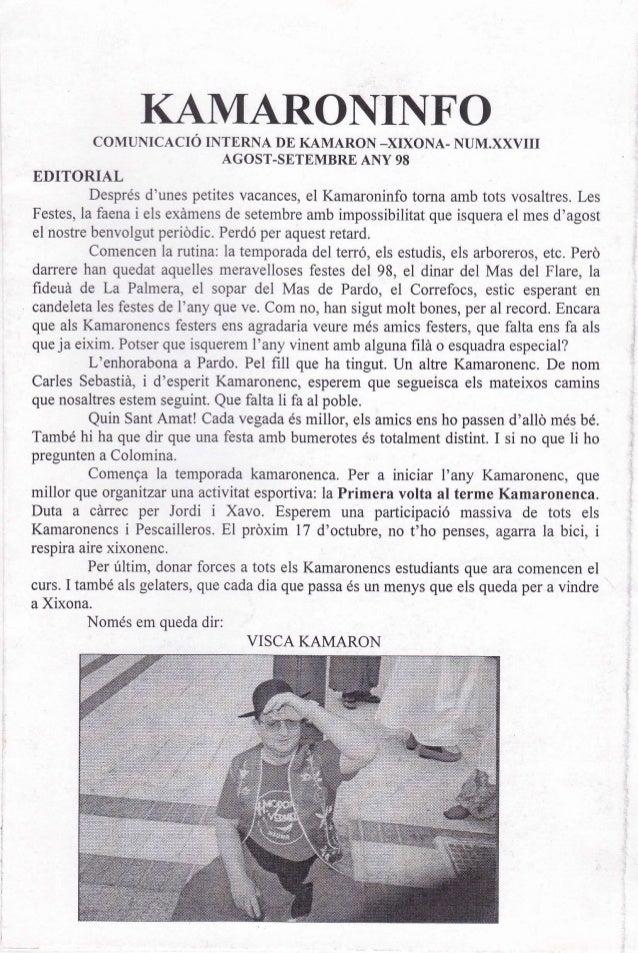 KAMARONII{FO            COMUNICACIÓ INTERNA DE KAMARON _XIXONA- NUM.XXVII                          AGOST-SETEMBRE ANY 98ED...