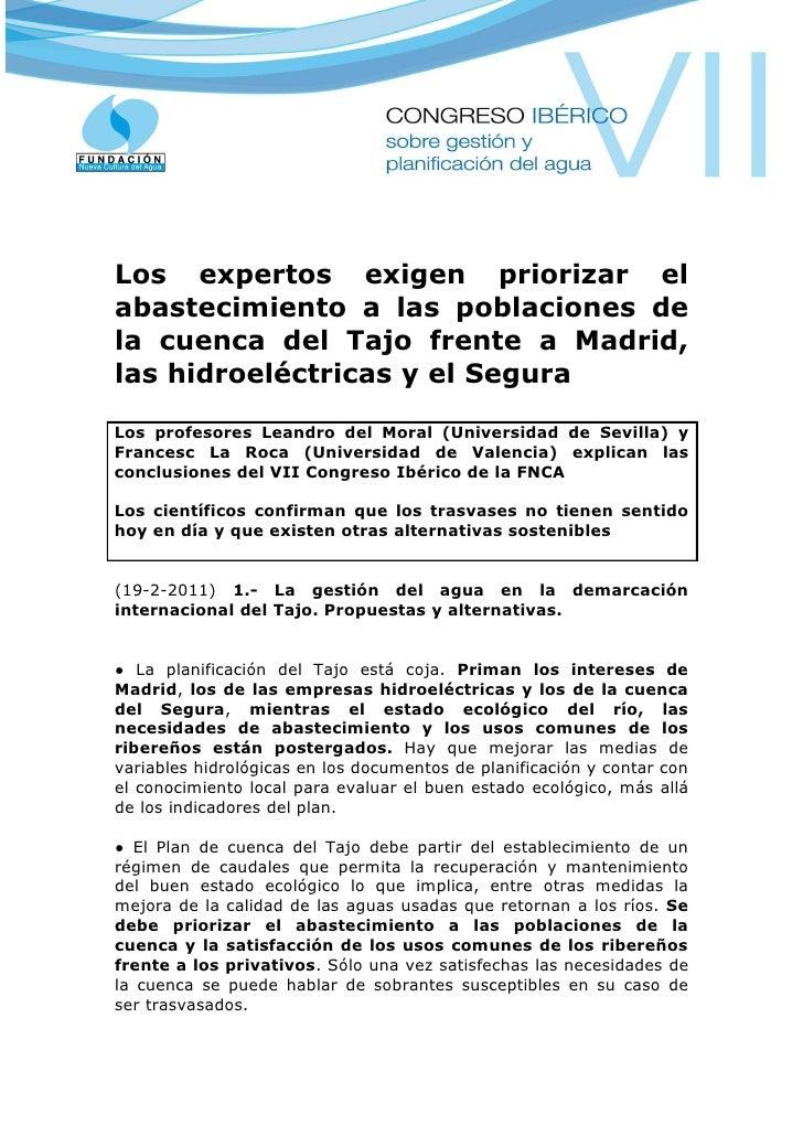 Los expertos exigen priorizar elabastecimiento a las poblaciones dela cuenca del Tajo frente a Madrid,las hidroeléctricas ...