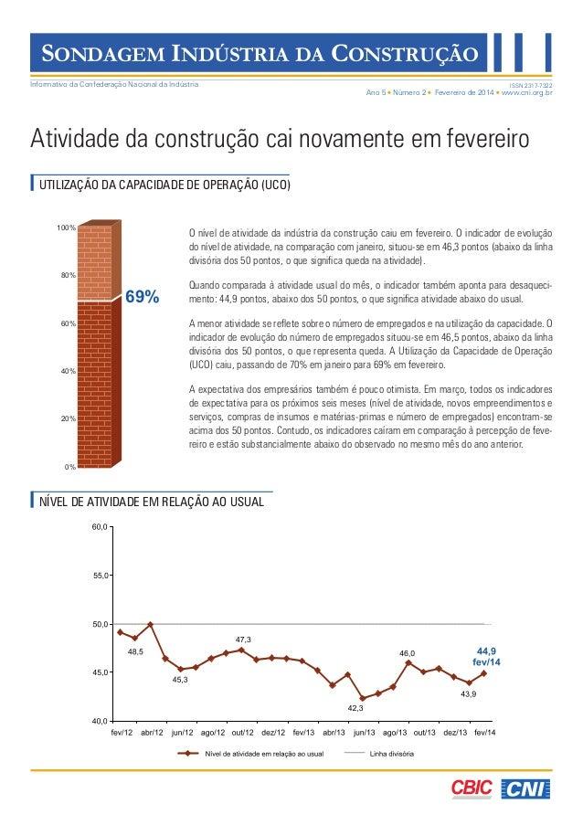 Ano 5 Número 2 Fevereiro de 2014 www.cni.org.br Informativo da Confederação Nacional da Indústria SONDAGEM INDÚSTRIA DA CO...