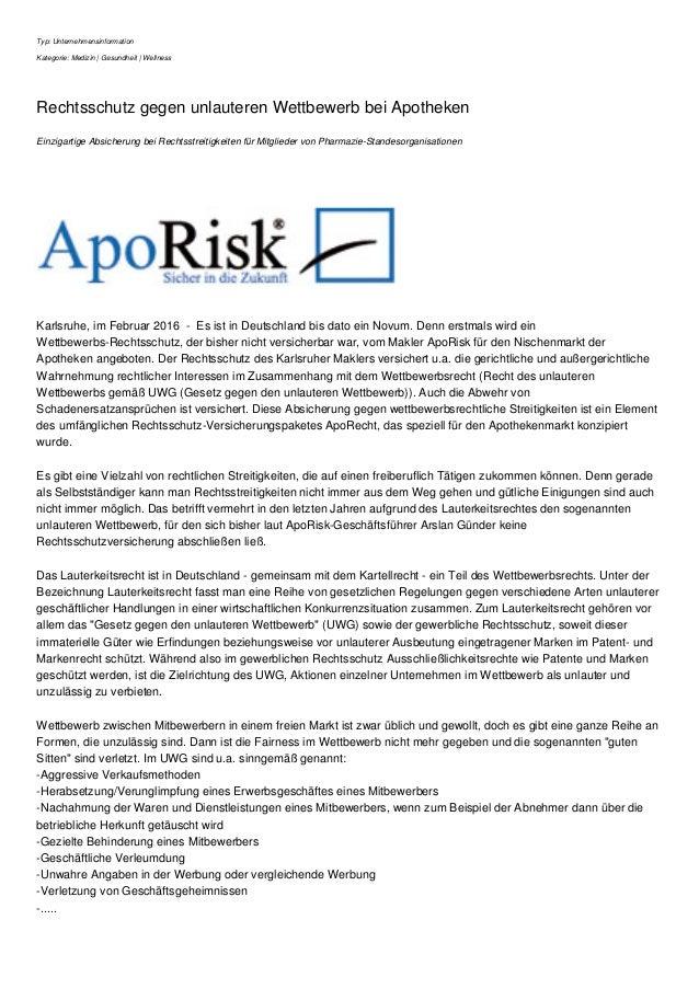 Typ: Unternehmensinformation Kategorie: Medizin | Gesundheit | Wellness Rechtsschutz gegen unlauteren Wettbewerb bei Apoth...