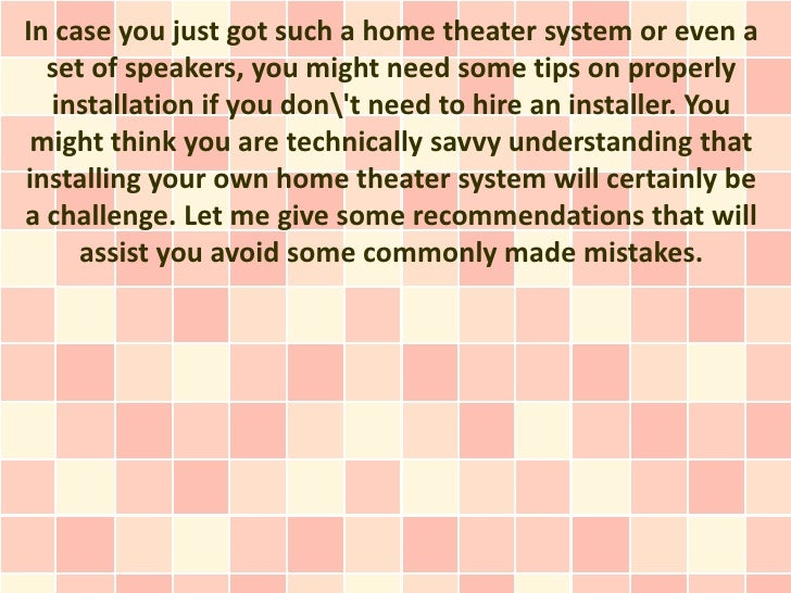 Tips to Setup Your Theater System