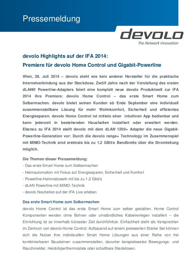 Pressemeldung  devolo Highlights auf der IFA 2014: Premiere für devolo Home Control und Gigabit-Powerline  Wien, 28. Juli ...