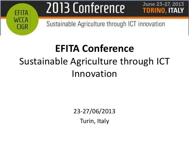 EFITA 2013 Towards an Open and Scaleable Infrastructure for Food Safety