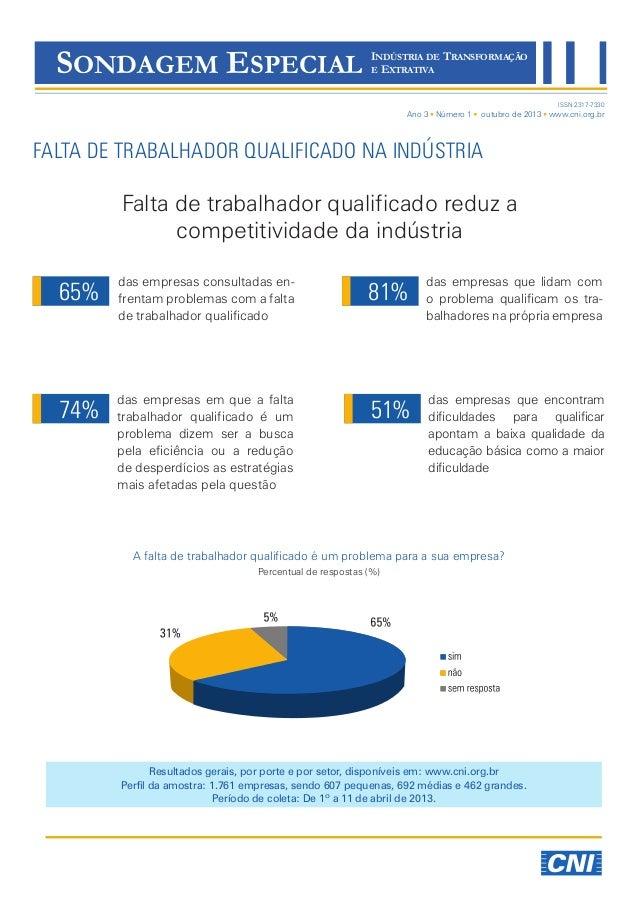 SONDAGEM ESPECIAL  INDÚSTRIA DE TRANSFORMAÇÃO E EXTRATIVA ISSN 2317-7330  Ano 3 Número 1  outubro de 2013 www.cni.org.br  ...