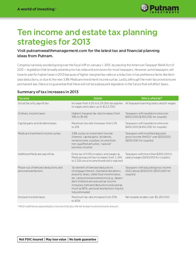 Ten income and estate tax planning strategies for 2013 Visit putnamwealthmanagement.com for the latest tax and financial p...