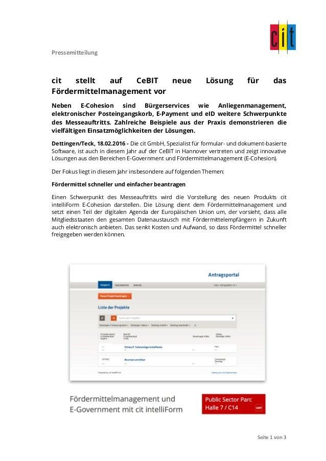 Pressemitteilung               Seite  1  von  3   cit stellt auf CeBIT neue Lösung für das Fördermittelm...