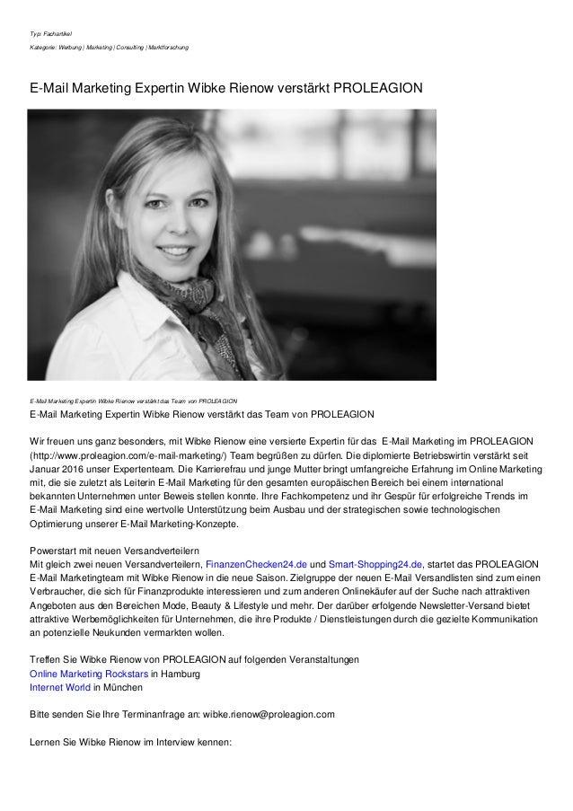 Typ: Fachartikel Kategorie: Werbung | Marketing | Consulting | Marktforschung E-Mail Marketing Expertin Wibke Rienow verst...