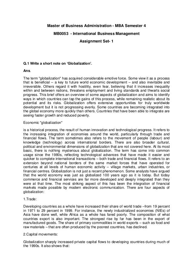 Master of Business Administration - MBA Semester 4 MB0053 - International Business Management Assignment Set- 1 Q.1 Write ...