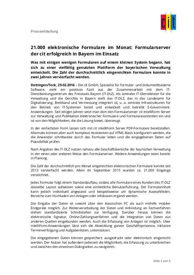 Pressemitteilung                 Seite  1  von  3   21.000 elektronische Formulare im Monat: Formulars...