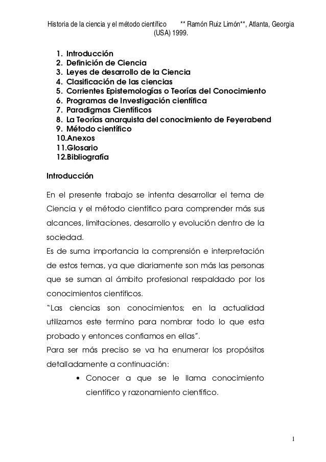 Historia de la ciencia y el método científico ** Ramón Ruiz Limón**, Atlanta, Georgia (USA) 1999. 1 1. Introducción 2. Def...