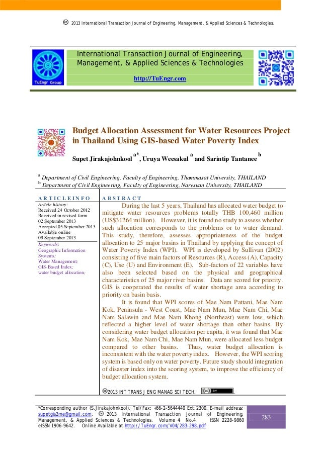 Budget Allocation Assessment for Water Resources Project in Thailand Using GIS-based Water Poverty Index