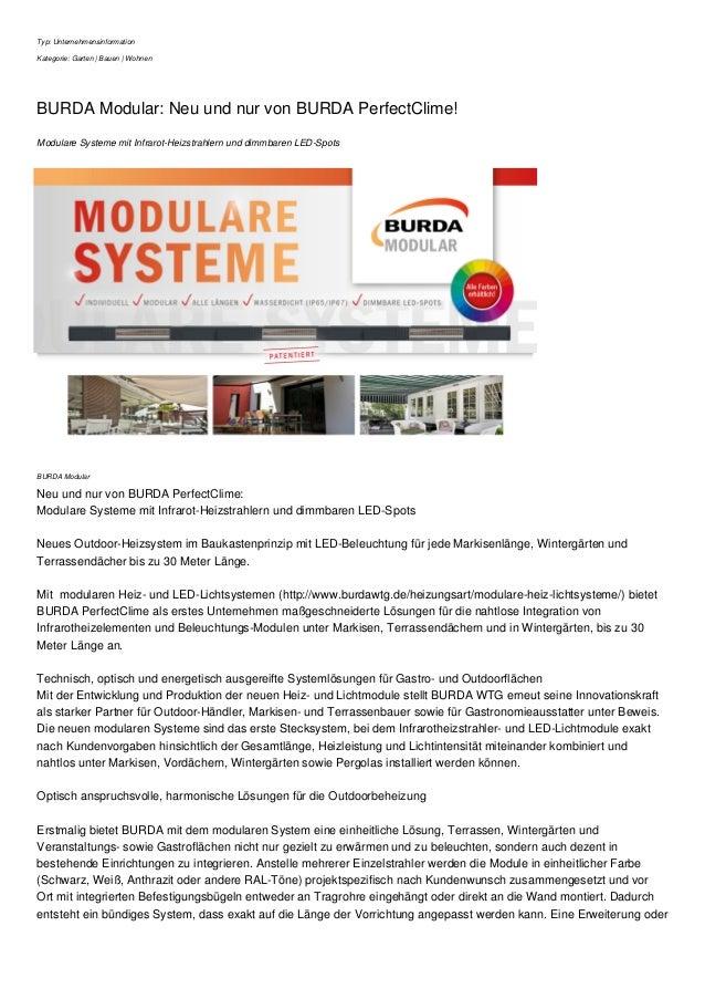 Typ: Unternehmensinformation Kategorie: Garten | Bauen | Wohnen BURDA Modular: Neu und nur von BURDA PerfectClime! Modular...