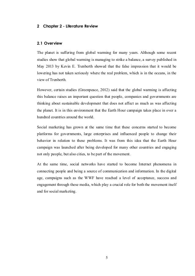 Literature review of global warming