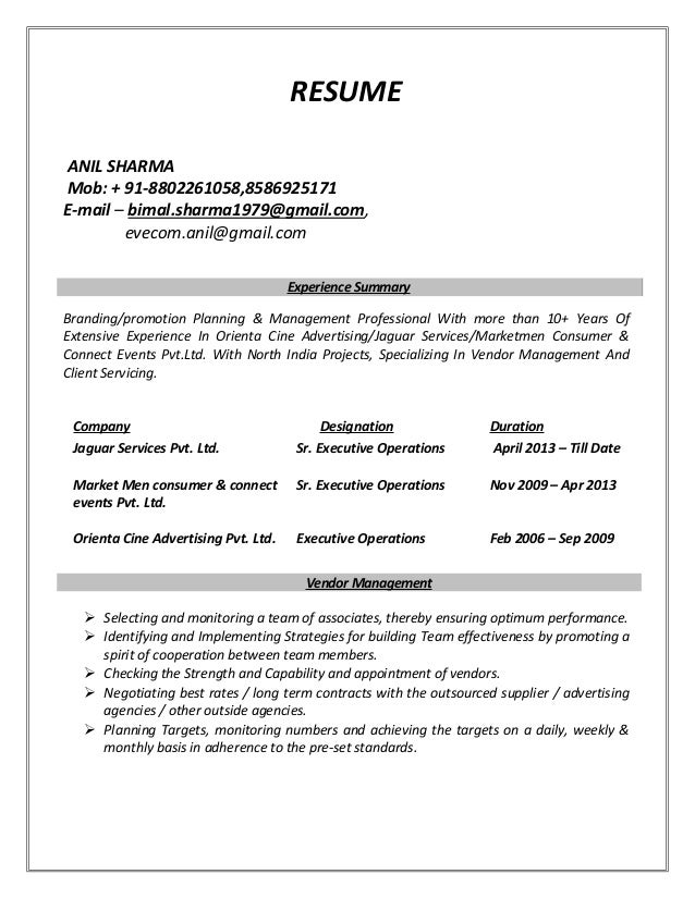 anil sharma resume