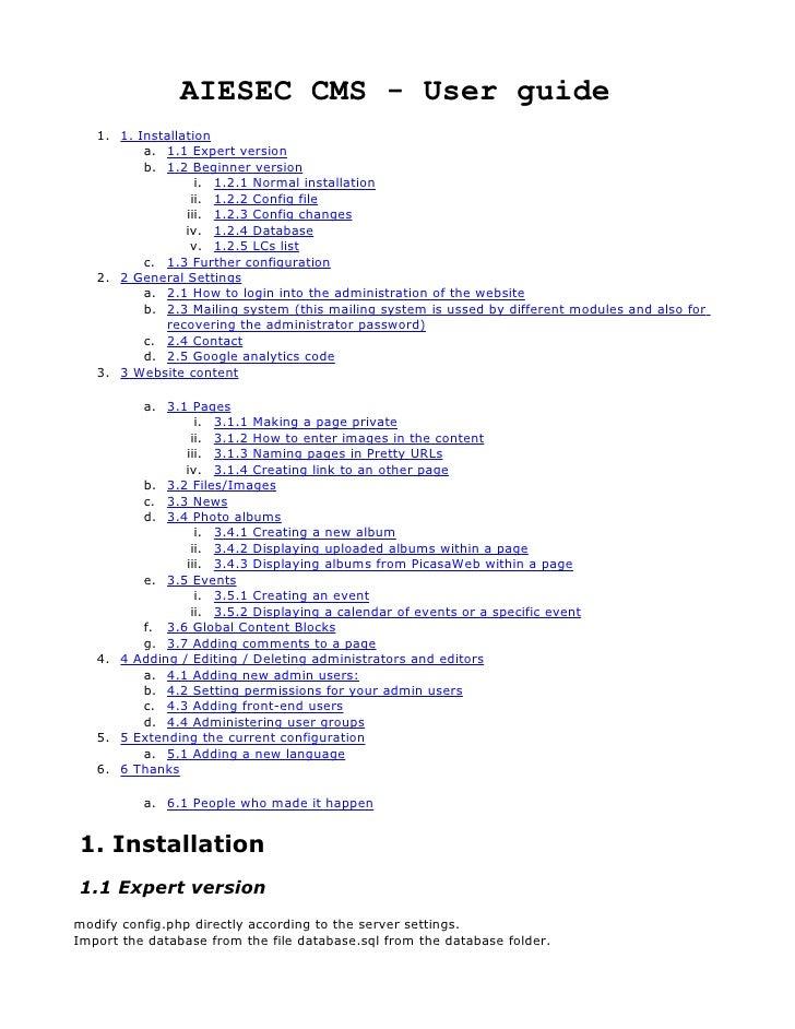 AIESEC CMS - User guide    1. 1. Installation           a. 1.1 Expert version           b. 1.2 Beginner version           ...