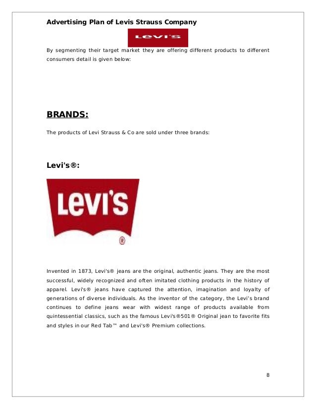 marketing analysis of levi strauss and co marketing essay Levi strauss & co is an american company well-known worldwide for its denim jeans the company was founded in 1853 and headquartered in san francisco california the bavarian-born levi strauss moved to gold rush era san francisco to open a dry goods business.