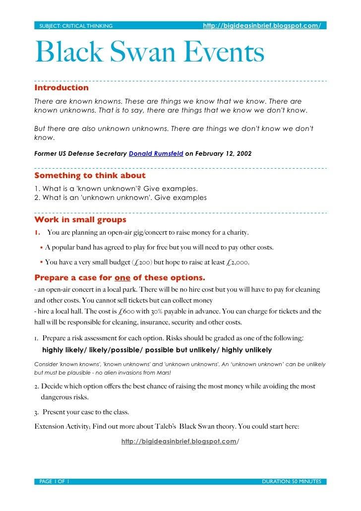 SUBJECT: CRITICAL THINKING                                 http://bigideasinbrief.blogspot.com/     Black Swan Events In...
