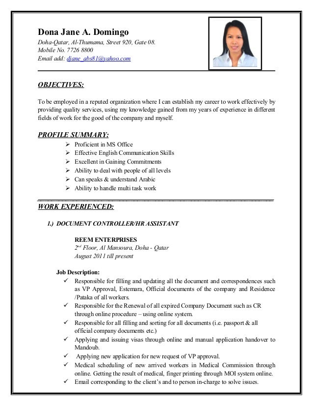Resume For Job In Qatar Dona Jane A. Domingo Doha-Qatar, Al-Thumama, Street 920, ...