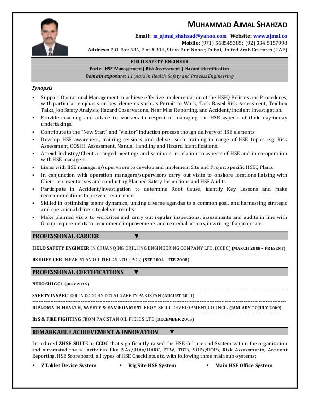 occupational health and safety resume examples occupational health