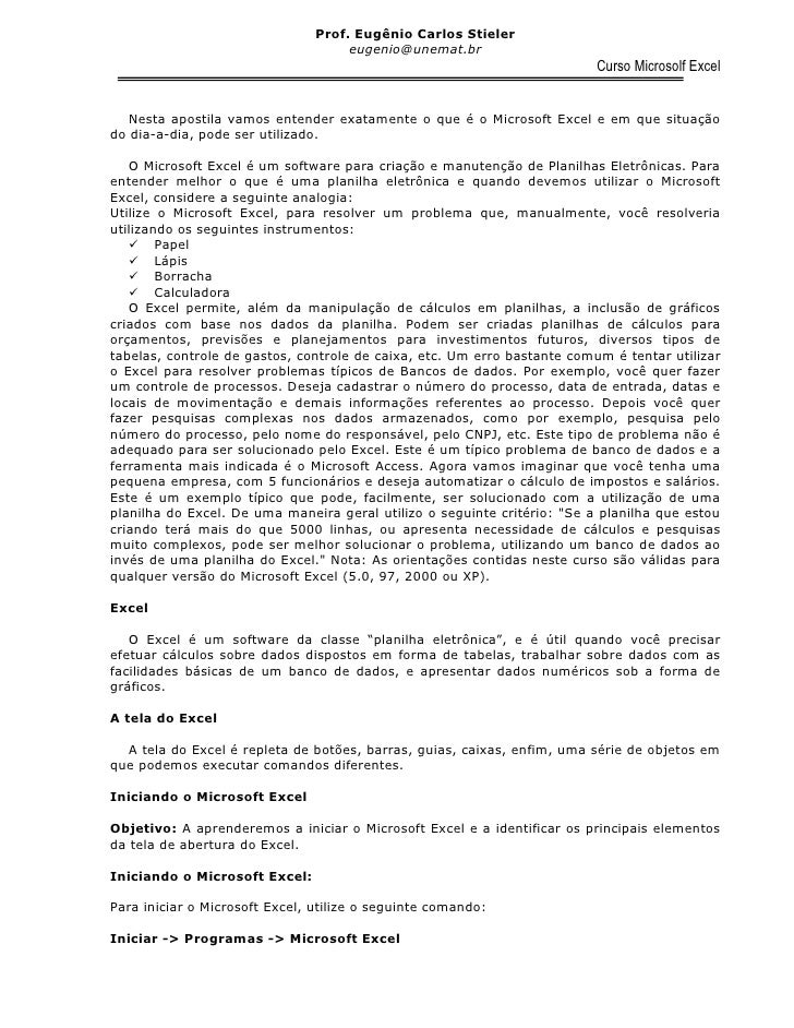 Prof. Eugênio Carlos Stieler                                      eugenio@unemat.br                                       ...