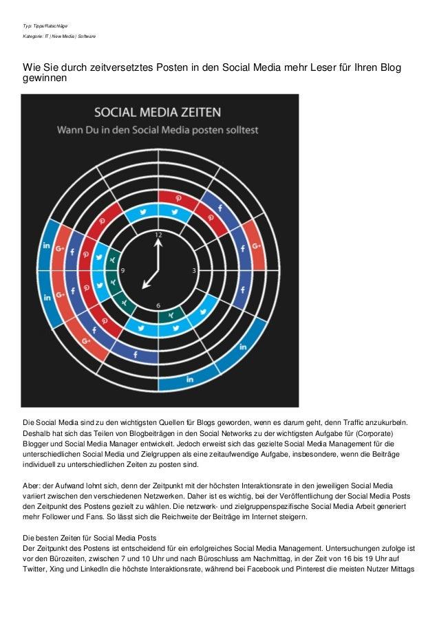 Typ: Tipps/Ratschläge Kategorie: IT | New Media | Software Wie Sie durch zeitversetztes Posten in den Social Media mehr Le...