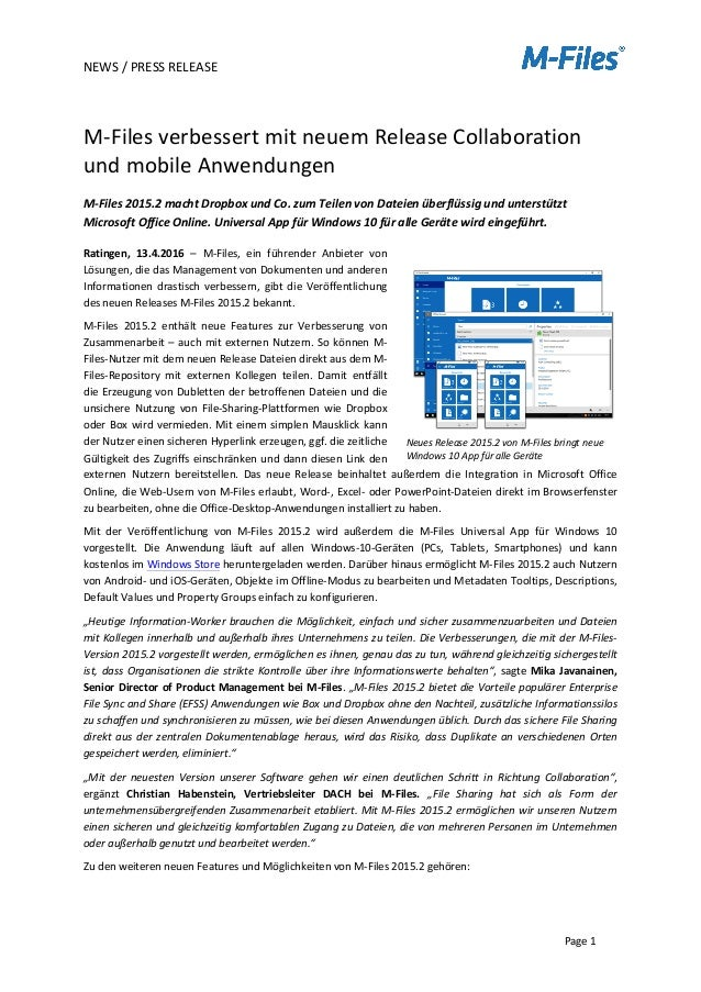 NEWS	   /	   PRESS	   RELEASE	    	    	    Page	   1	    	    M-­‐Files	   verbessert	   mit	   neuem	   Release	   Col...