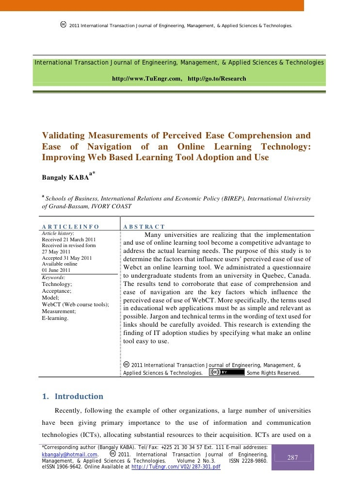 Validating Measurements of Perceived Ease Comprehension and Ease of Navigation of an Online Learning Technology: Improving Web Based Learning Tool Adoption and Use