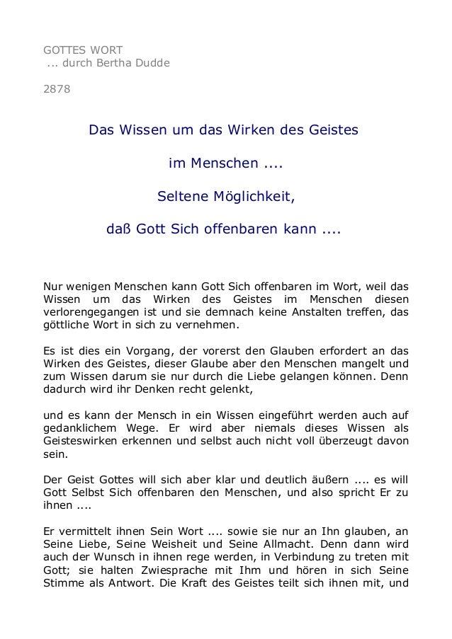 GOTTES WORT ... durch Bertha Dudde 2878 Das Wissen um das Wirken des Geistes im Menschen .... Seltene Möglichkeit, daß Got...