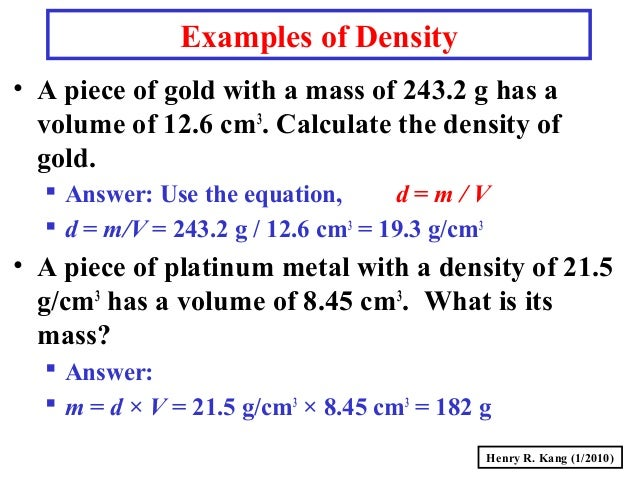 density and answer