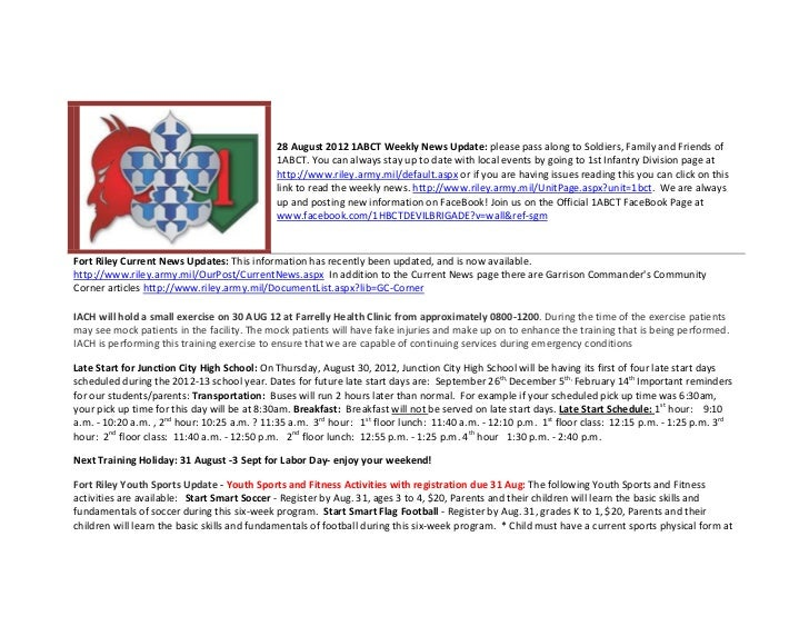 28 August 2012 1ABCT Weekly News Update: please pass along to Soldiers, Family and Friends of                             ...