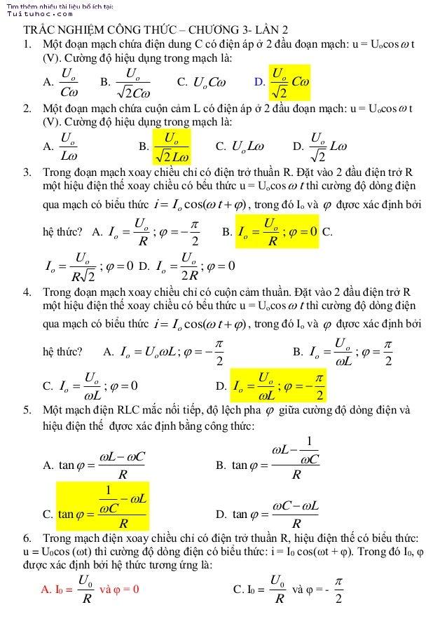 28 câu trắc nghiệm công thức