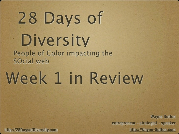 28 Days of Diversity - Week 1 in Review