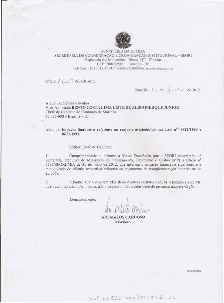 Documentação/cálculos do impacto financeiro do pagamento da diferença de 28,86% devida aos militares das Forças Armadas
