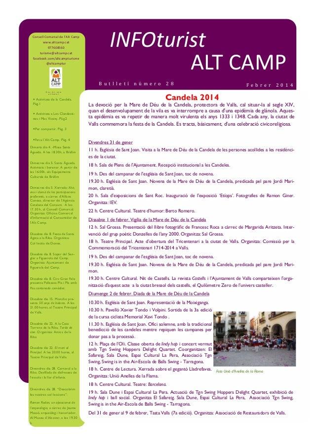 Consell Comarcal de l'Alt Camp www.altcamp.cat 977608560 turisme@altcamp.cat facebook.com/altcampturisme @altcamptur  INFO...