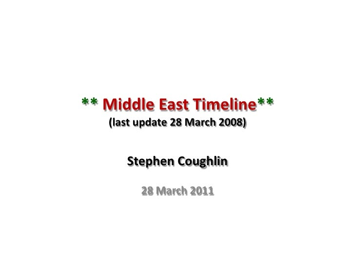 ** Middle East Timeline**(last update 28 March 2008)<br />Stephen Coughlin<br />28 March 2011<br />
