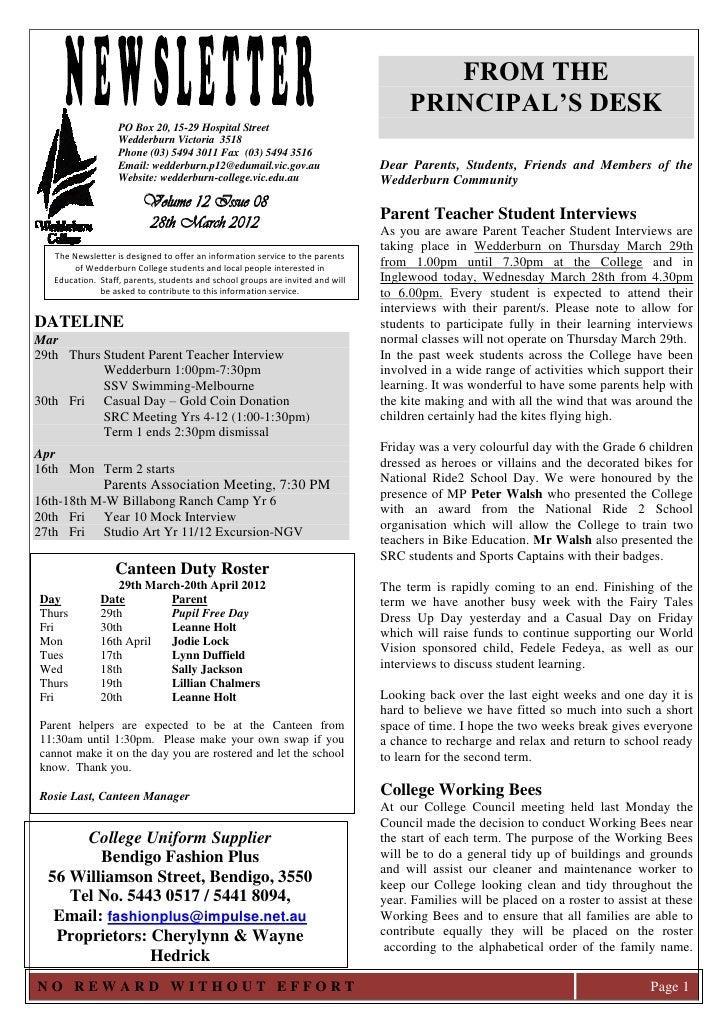 Wedderburn College Newsletter 28th March 2012
