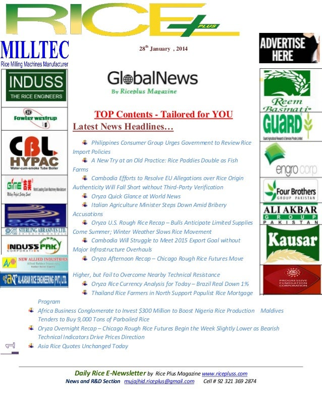 28th january,2014 daily  exclusive oryza newsletter by riceplus magazine