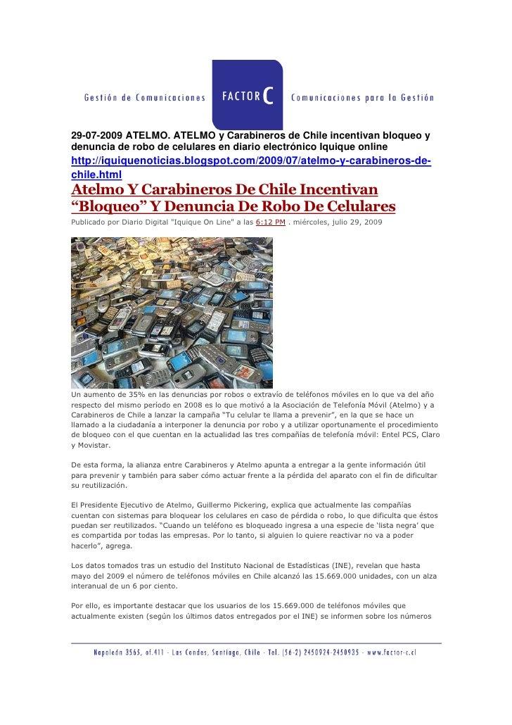 29 07 2009 Atelmo  Atelmo Y Carabineros De Chile Incentivan Bloqueo Y Denuncia De Robo De Celulares En Diario ElectróNico Iquique Online