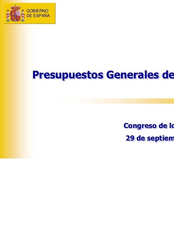 GOBIERNOGOBIERNODE ESPAÑADE ESPAÑA  Presupuestos Generales del Estado  Presupuestos Generales del Estado                  ...