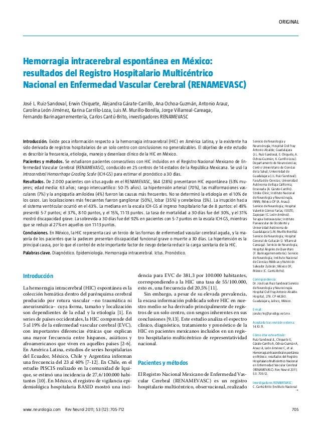 Hemorragia intracerebral espontánea en México: resultados del Registro Hospitalario Multicéntrico Nacional en Enfermedad Vascular Cerebral (RENAMEVASC)