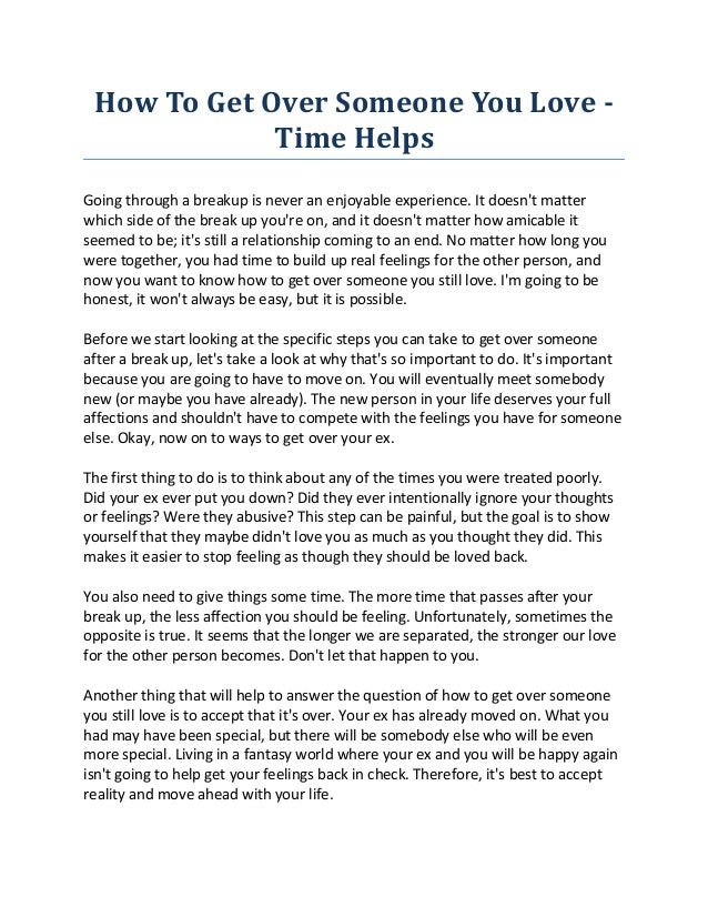 How To Get Over Someone You Love - Time Helps