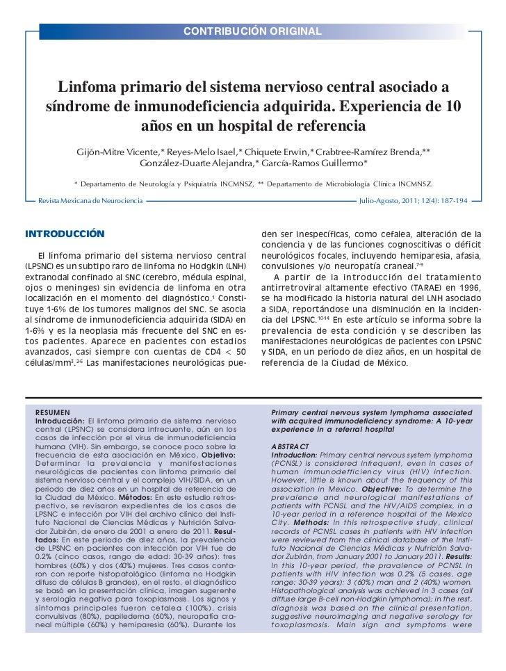 CONTRIBUCIÓN ORIGINALRev Mex Neuroci 2011; 12(4): 187-194                                                                 ...