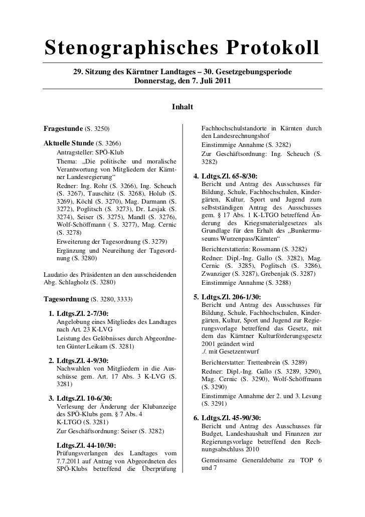 Stenographisches Protokoll          29. Sitzung des Kärntner Landtages – 30. Gesetzgebungsperiode                         ...