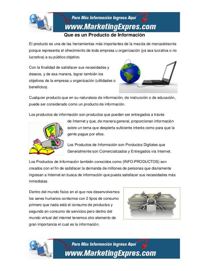 Que es un Producto de InformaciónEl producto es una de las herramientas más importantes de la mezcla de mercadotecniaporqu...